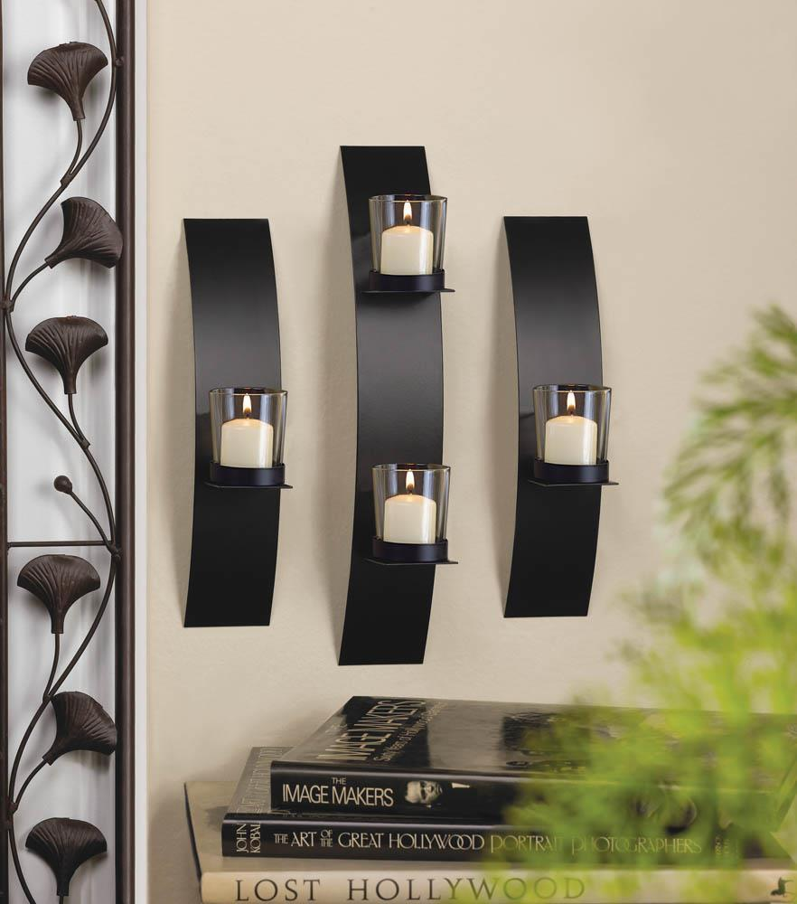 Contemporary Metal Wall Sconce Trio Candle Holder
