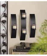 Contemporary Metal Wall Sconce Trio Candle Holder - $28.99