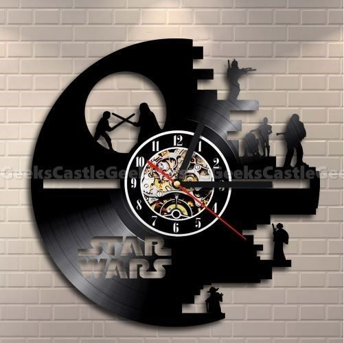 Star Wars Death Star Vinyl Record 3D Wall Clock Retro Art room decor Vintage, used for sale  USA