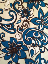 RETRO FUNKY FLORAL black white blue outdoor upholstery fabric, 36-29-12-0712 - $25.00