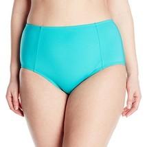 NEW Kenneth Cole Plus 1X Ruffle Shuffle Solid Hi Waisted Bikini Bottom Teal - $15.80