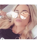Rose Gold Cat Eye Aviator Mirror Flat Top Sunglasses Sun Glasses Women's... - £7.09 GBP+