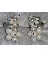 vintage silver tone clip on earrings Signed Japan white beads AB rhinest... - $18.00