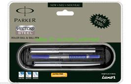 Parker Vector Stainless Steel CT Roller Ball Pen & BallPen Set - 100% Ne... - $21.99