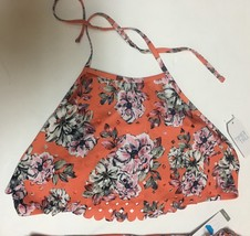 Time & Tru Two Piece Swimsuit Coral Floral Top Sz L (12-14), Bottom Sz M (7-8) image 4