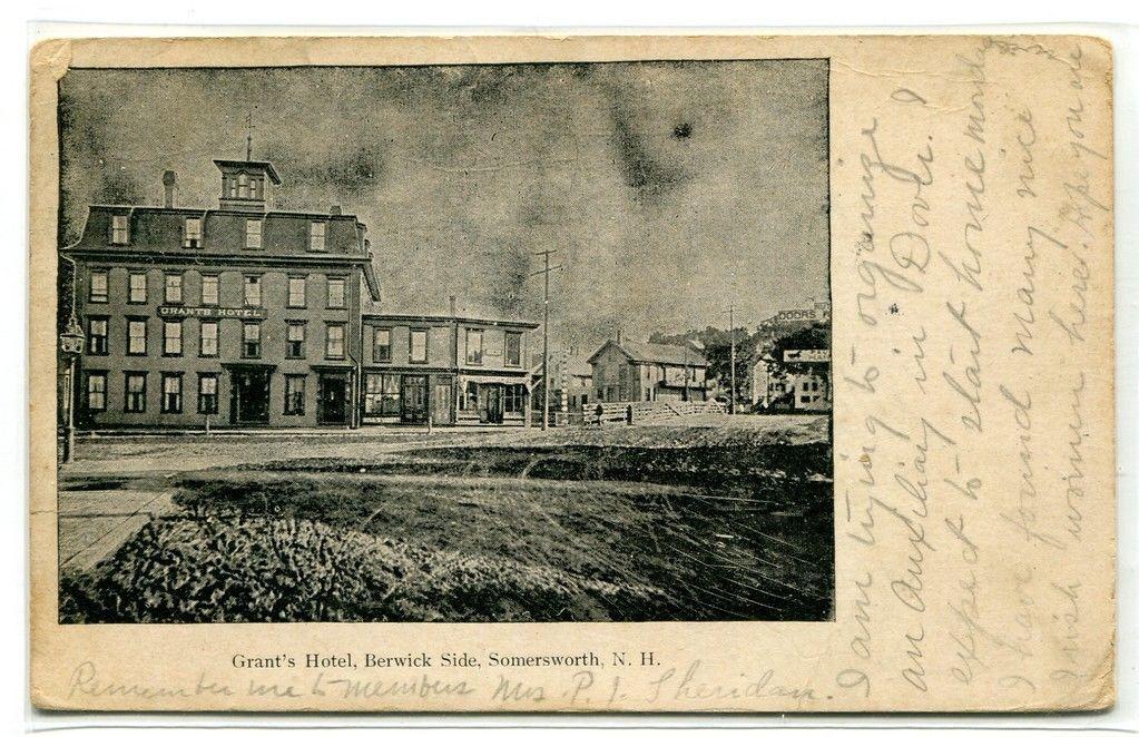 Grant's Hotel Berwick Side Somersworth New Hampshire 1905 PMC postcard - $6.88