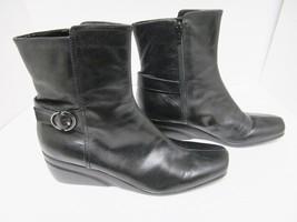 NINE WEST Dreamito Wedge Heel Boots Leather Side Zip Buckle Black 9.5 M - €42,68 EUR