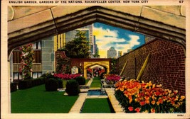 LINEN POSTCARD-ENGLISH GARDEN, GARDEN OF THE NATIONS, ROCKEFELLER CENTER... - $2.45