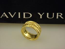 David Yurman 18k Yellow Gold Chevron Band Ring 10mm Wide - Size 9.75 - $1,616.02