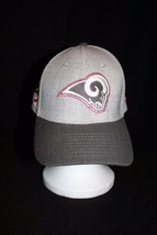 NFL Rams Breast Cancer 39THIRTY Lt/Dk Gray Pink Ribbon Stretch Med-Lg Cap Hat - $29.95