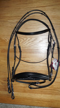 Bobby's WB Sz Padded Black MonoCrown FLASH Dressage Bridle w/Handstop Reins - $192.00