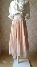 "Blush Long Tulle Skirt Blush Wedding Bridesmaid Skirt High Waisted 27.5"" long image 4"