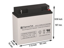 12 Volt 18 AH Para Systems Minuteman BP48V17/20 Replacement battery by SigmasTek - $35.52