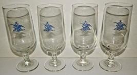 "4 Anheuser Busch Clear Stemmed Glass Goblet Eagle Logo 7"" Blue Budweiser... - $39.59"