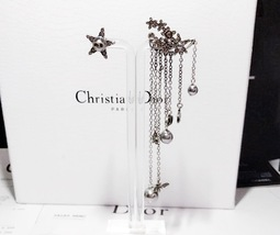 AUTHENTIC Christian Dior STAR CD LOGO CHARM Multi Chain Long Dangle Earrings image 3