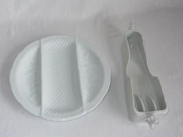 Porcelain Ceramic 3 Section Divided Serving Dish & Vtg Buffet Utensil Ho... - $21.77