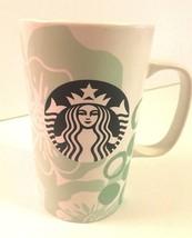 Starbucks Spring Mint Floral Coffee Tea Cup Mug Aqua Teal Flowers Dots 16 Fl Oz - $24.90