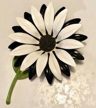 """Vintage Black & White Daisy Metal Enamel Brooch W/Green Stem 1960's  3 1/2"""" - $29.92"""