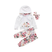 Infant Baby Boys Girls Floral Outfit Clothes Tracksuit Hooded Tops Long ... - $12.69