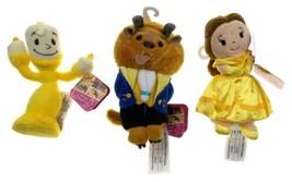 Disney Beauty & The Beast Set of 3 Plush Figurine Dolls Belle Beast Lumi... - $20.09