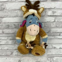 Disney Store Reindeer Eeyore 13in Soft Plush Donkey Brown Fuzzy Sleeper - $17.39