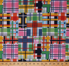 Cotton Plaid Patchwork Squares Checked Cotton Fabric Print by the Yard D... - $10.95