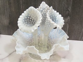 Fenton White French Opalescent Glass Diamond Lace 3 Three Horn 4 Piece Epergne - $71.28