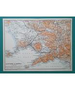 ITALY Environs of Naples Napoli Ischia Benevento Vesuvius - 1911 MAP - $21.60