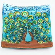 Fused Art Glass Showy Peacock Bird Design Soap Trinket Dish Handmade in Ecuador