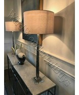 Ribbed Buffet Table Lamp Silver Mercury Glass 39H Tall Tapered Contempor... - $217.80