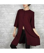 Vintage D'Aillards burgundy tunic with buttons size S-M womens - $29.72