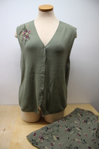 Koret Women's 16 Olive Green Skirt Dress and Button up Knit vneck Top - $29.95