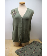 Koret Women's 16 Olive Green Skirt Dress and Button up Knit vneck Top - $29.95