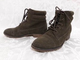 Steve Madden Green Suede Leather Lace Up Ankle Boots Sz.7M - £26.76 GBP