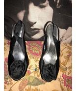 ANNE MICHELLE Sassy Black Onyx Satin Peep Toe Pumps Size 7 1/2 - $14.85