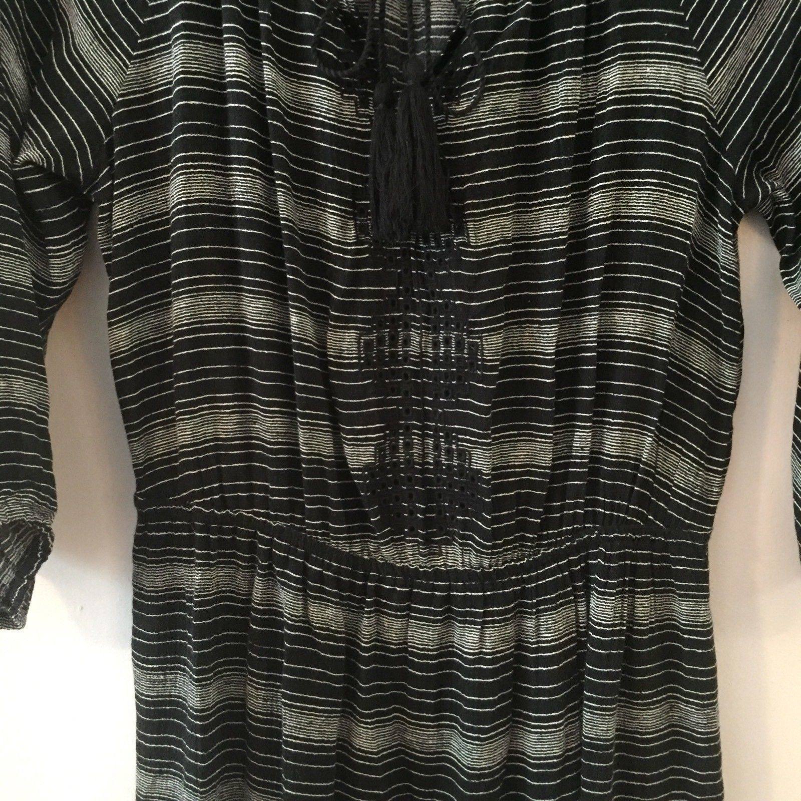 Ann Taylor Loft Black and White Peasant Dress Gathered Waist Size Small
