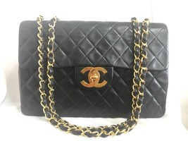 Vintage CHANEL black lamb leather large, jumbo , classic flap shoulder b... - $3,022.00