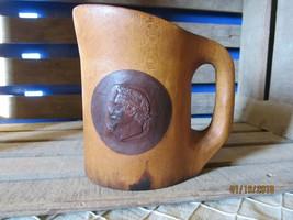 Antique Carved Wood Wooden Beer Stein Mug Gladiator Man Face 2 Tone Wood - $18.00