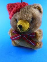 Hallmark Christmas Ornament  Plush Teddy Bear with hat 4.5 in Vintage Korea 1981 - $8.70