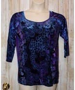 Womens Pretty Paisley Velour Investments 3/4 Sleeve Shirt Size XL excellent - $7.91