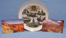 Vintage Utah Souvenir Plate and 2 Picture Postcards  Lot of 3 - $13.85