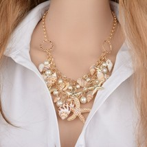Mele Tropical Beach Chain Necklace Shell & Pearl & Starfish Gold Trend - $16.99
