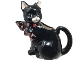 Vintage Ceramic Black Kitty Cat Creamer Pitcher Wang's Int'l Inc - $10.58