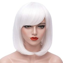 Short White Hair Wigs Bob Wig with Bangs for Women Straight Cosplay Wig ... - $12.95