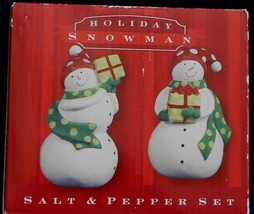Holiday Snowman Ceramic Salt and Pepper Set - BRAND NEW IN BOX - Hand Painted - $19.79