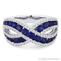 2.09ct Round Cut Sapphire & Diamond Pave Band Right-Hand Ring in 18k White Gold - €2.562,86 EUR