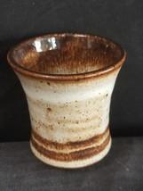 Peter Deneen Pottery Shot Tea Glass Stoneware White Speckled W/ Brown Ri... - $18.65
