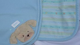 Carters furry tan puppy dog blue Baby Blanket reversible pawprints bones... - $24.74