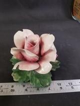 Capodimonte Italy Porcelian Rose Flower Figurine Pink Color - $17.96