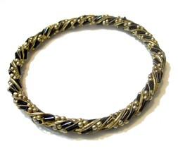 Vintage Black & Gold Bead Bangle Bracelet Gold Tone Fancy - $2.96